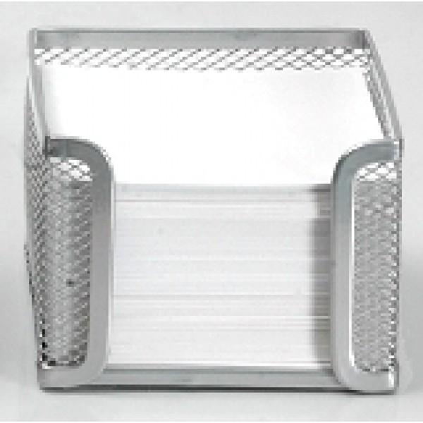 Κύβος μεταλλικός με χαρτί 10χ10cm. ασημί